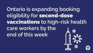 Ontario Continues to Expand Booking Eligibility for COVID-19 Vaccines to More Ontarians