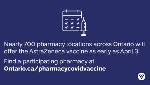 Ontario Expanding Pharmacy and Primary Care Locations for COVID-19 Vaccinations