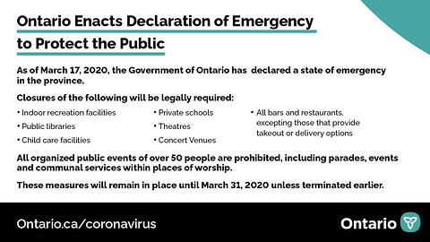 Ontario Enacts Declaration of Emergency