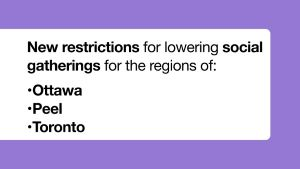 Lower Limits for Unmonitored and Private Social Gatherings in Ottawa, Peel and Toronto Regions