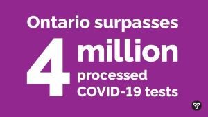 Ontario Surpasses Four Million COVID-19 Tests