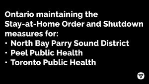 Stay-at-Home Order Extended in Toronto and Peel Public Health Regions Along with North Bay-Parry Sound