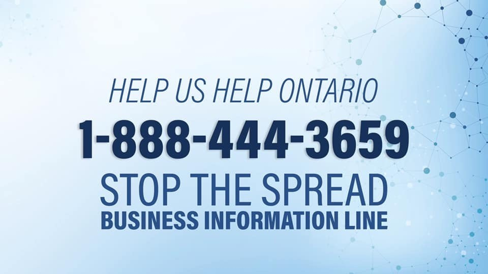 Stop the Spread Business Information Line Now Open at 1-888-444-3659
