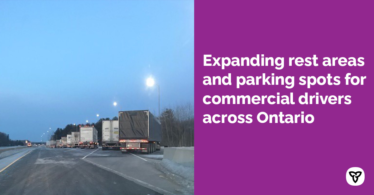 Ontario Expanding Truck Rest Areas Across the Province